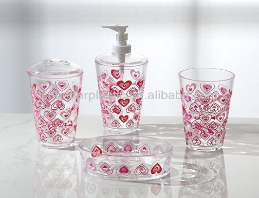 2014 plastic bathroom set accessories toothbrush holder tumbler soap dish A8565D-A8568D from factory