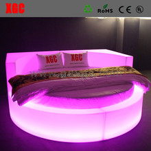 Hot sale bed round shaped luxury Circle shape hotel bed with 16 colors changing led light