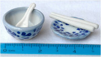 Miniature Ceramics Plate, Bowl, Spoon, Chopstick