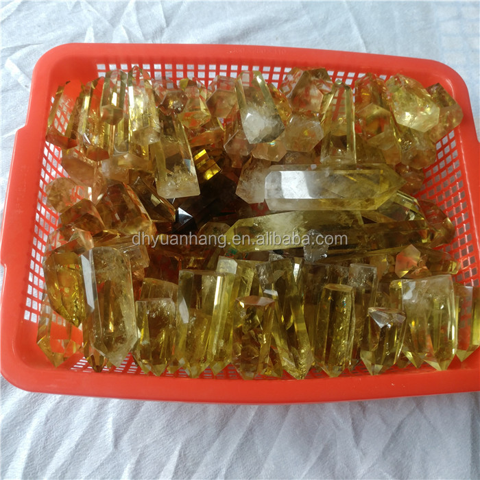 Golden citrine crystal wands quartz crystal healing points obelisks