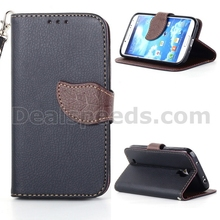 Leaf Flip Lichee PU Leather Case Cover for Samsung Galaxy S4 i9500 with Hand Strap