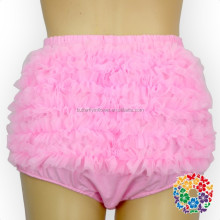 Wholesale Baby Summer Clothes Plain Pink Chiffon Ruffle Bloomers Diaper Cover Cotton Baby Bloomers