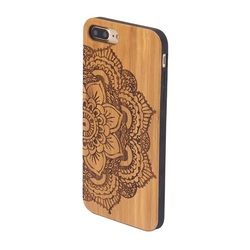 mobile phone accessories hard phone cases,Laser engraving carved real bamboo wood tpu phone case for iphone 7 plus