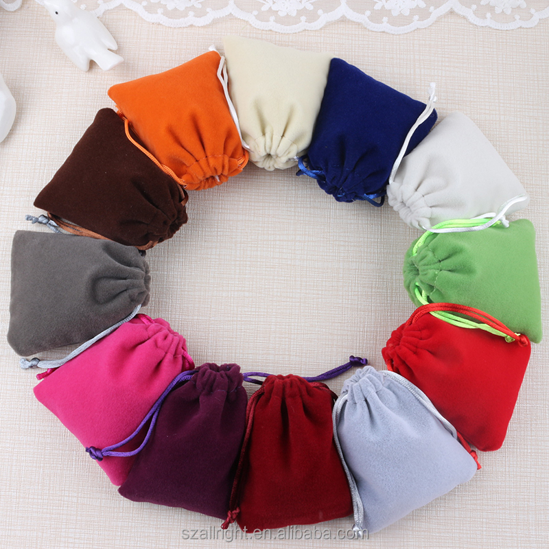 Colored Soft Faux Suede Drawstring Jewelry gift Pouches bags