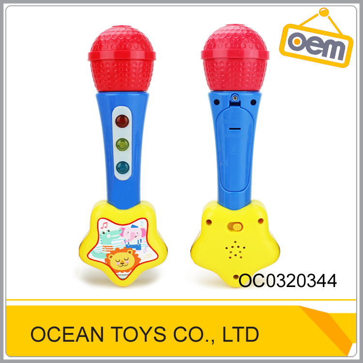 Battery operated kids cartoon mini toy microphone with light music