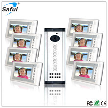 "Saful wholesales 7"" handsfree wired video intercom door phone apartment building intercom system"