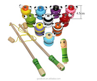 Wholesale Educational Toy Wooden 3D Fishing Game Set With Two Fishing Rod And Ten Fishes