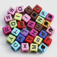 assorted cube 6MM large hole square alphabet cube letter acrylic plastic bead for spacer of bracelet jewelry making