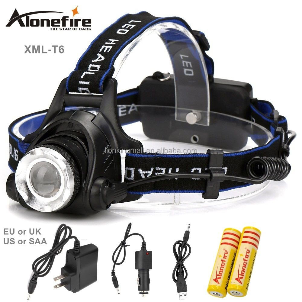 AloneFire HP79 Head lamps Headlight Cree XML T6 <strong>LED</strong> 2000LM Zoom Head <strong>lights</strong> Headlamp for 1/2 x18650 Rechargeable battery-Set