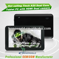 Hot 7 inch A20 dual core cpu tablet pc with dua camera wifi