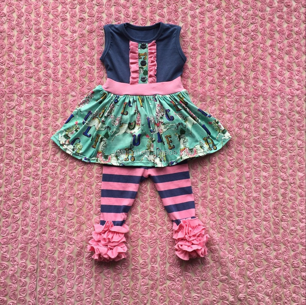 FLF-790 remake newborn baby clothing set icing pants suits carousel patterm girls boutique hot selling 2016
