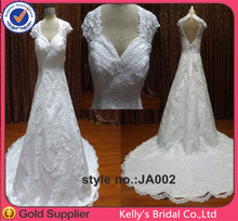 Malt pattern lace sweetheart backless snow white bridal gown