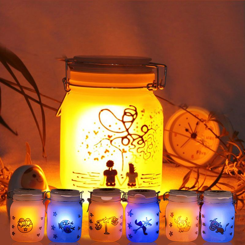 auto color change solar sun jar absorb the sun energy lights up at night