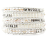 stainless steel jewelry Handmade popular crystal stone on cotton cord 1 wrap bracelet