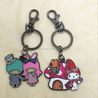 Cartoon Key chain,3D Enamel Keychain,Little twin stars,Metal Zinc alloy Keyring