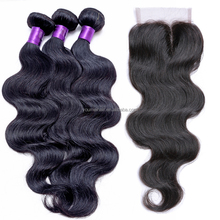 Cheap Brazilian Virgin Human Hair 4X4 Natural Part Lace Closure With Baby Hair