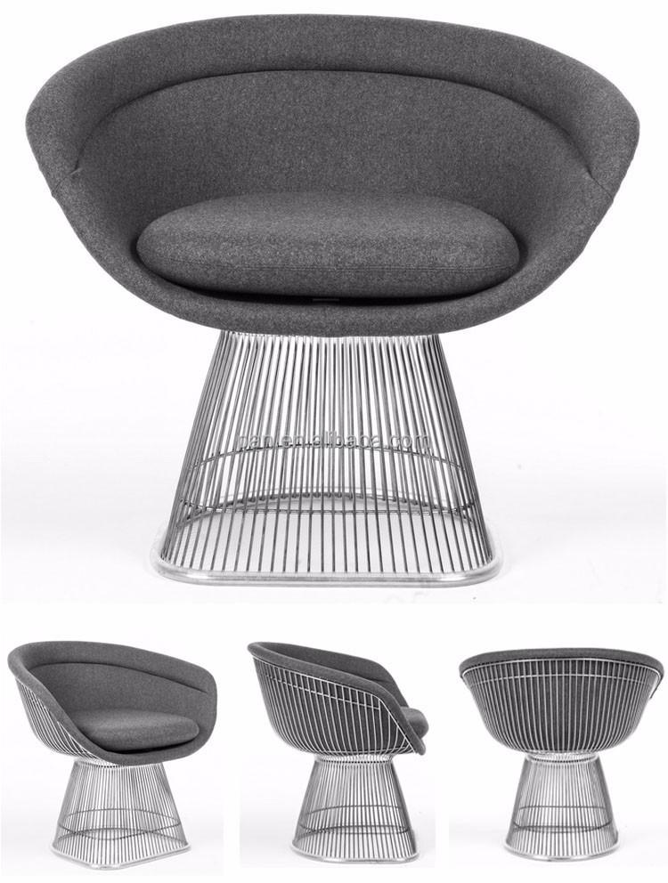 Nuevo diseño réplica muebles comedor de acero stainess alambre warren Platner...
