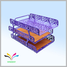Office desk different pattern 3 layer mesh file document letter tray