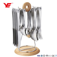 24pcs / 30pcs stainless steel cutlery 18/10 and flatware set with iron stand in PVC box and gift box