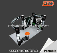3*6M exhibition designer/booth construction/exhibition booths suppliers with spiral tower stands and fabric banner wall easy set