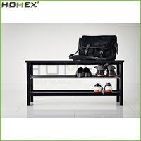 Modern Shoe 2 Shelf Bench/Wooden Shoe Rack/Homex_FSC/BSCI Factory