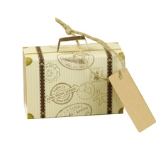 Creative vintage Luggage carrier shape gift paper box souvenir wedding party favor