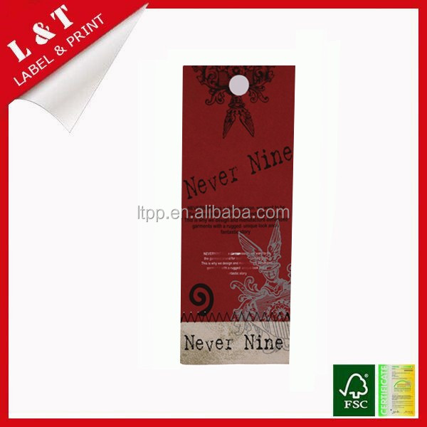 Customized recycled paper hang tag for clothing with string