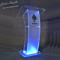 GUIHEYUN Carved design cheap clear modern acrylic podium lectern customized logo with rgb led and slanted table-top church pulpi