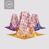 hangzhou custom silk screen print women pure silk square scarf