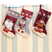 Santa Claus Snowman Candy Chocolates Gift Bag Christmas Stocking Socks Christmas Tree Decoration Party Supplies