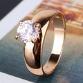 18K Gold Plated Round Cut White Swiss Zircon CZ Band Engagement Ring