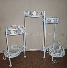 Quanzhou anxi wrought iron crafts powder coated metal flower pot folding plant stand