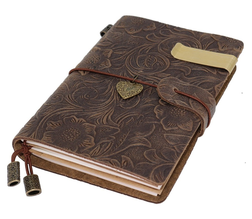 Colorful Vintage Travelers Notebook Dairy Flowers Embossed personalized Refillable Leather Journal