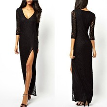 wholesale v-neck thigh split full length dress long sleeve lace evening gown