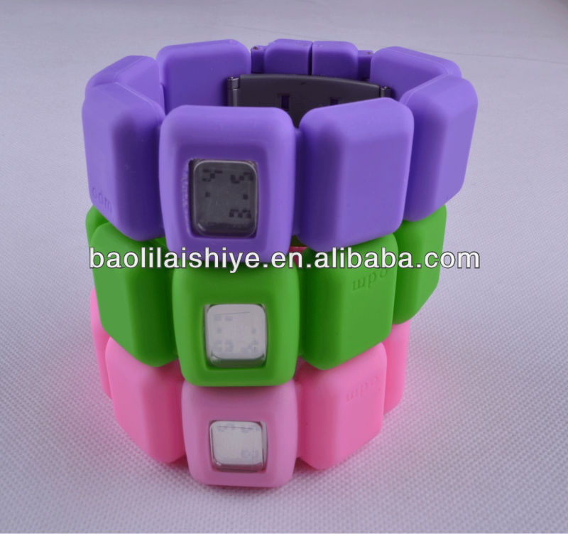 Pretty silicone jelly colorful wrist watches digital silicona gel reloj silicone chocolate bangle watches 2013