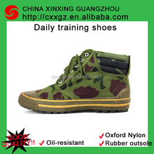 Camouflage textile upper canvas men spor/ military training shoe with oxford polyester