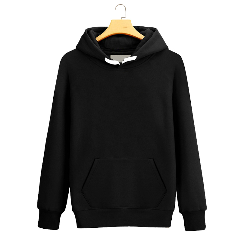 2017 custom cotton plain black pullover hoodie for men