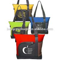 Two Tone Zippered Long Strap Tote Bag with pocket