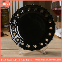 custom plate new fashion hollow round black plate,ceramic restaurant dinner plate home used