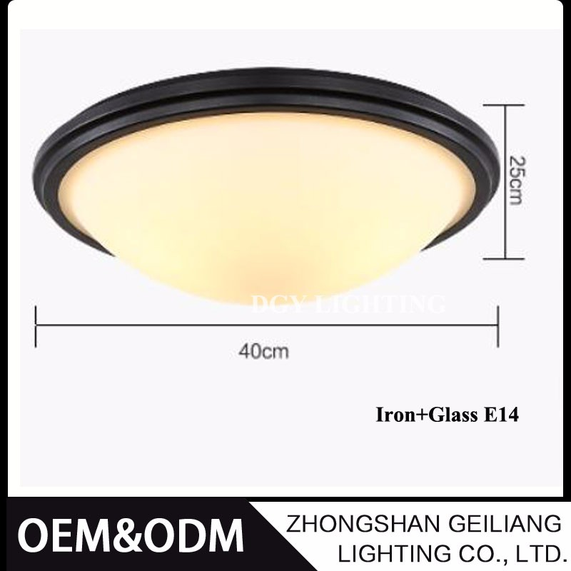 Round frosted glass iron american village modern E14 led ceiling light