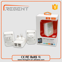 latest popular USB 4 port wall charger with UK/US/EU plug for all mobile phones