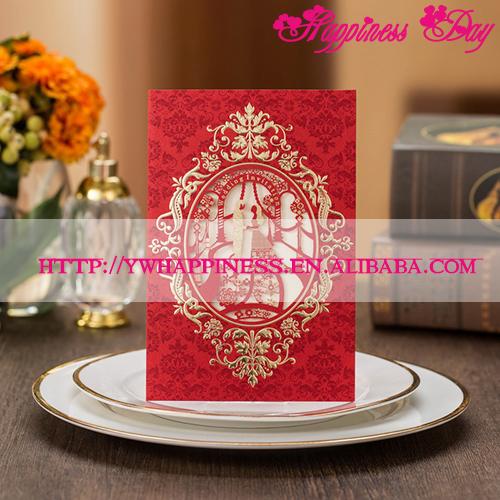 Fashion Red Wedding Invitation Cards Hollow Paper Frame Church Style Wedding Invitations