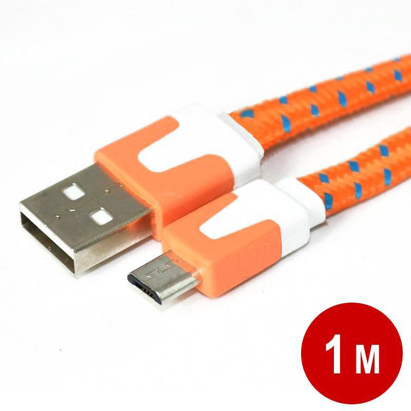 1m Colorful USB Noodle Micro USB Sync Data Charger Cable for Samsung Galaxy S2 S3 S4 nylon braided usb cable Orange