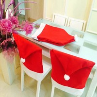 Hort Santa Claus Hat Chair Covers Christmas Dinner Table Party Christmas Decrations
