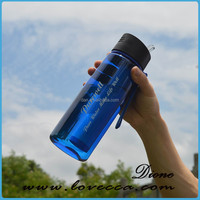 Private label BPA free portable weak alkaline water bottle with carbon filter