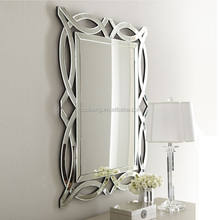 Fancy wood frame mingling silver slats stick on wall mirrors