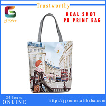 European Style Popular Women Classical House Travel Souvenir Pu Handbag Women Bag Hot Sale Casual Printed Pu Wholesale Tote Bag