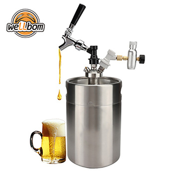 Unbreakable Homebrew Carbonating 5 liter Wine Pot stainless steel mini keg with logo