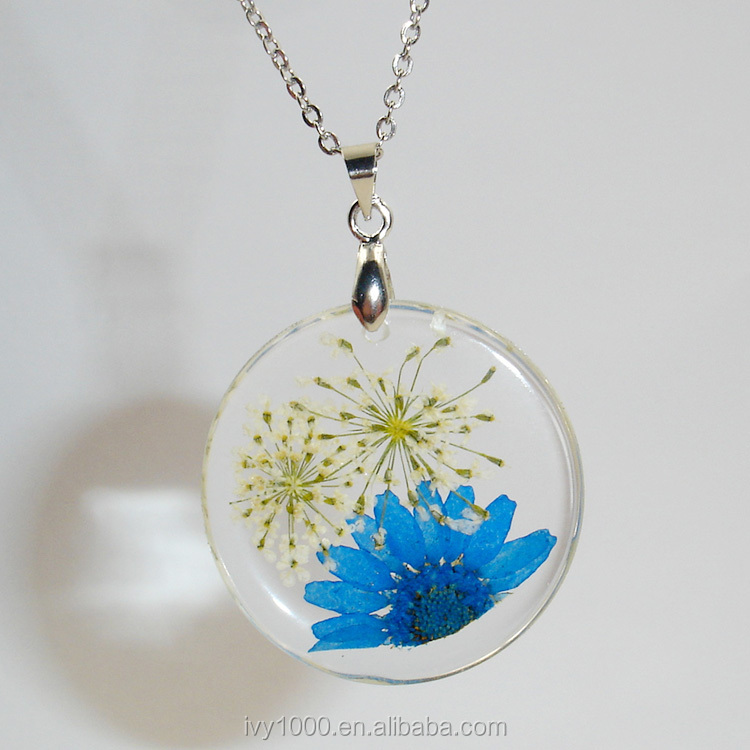 Fashion dried flower round pendant woman necklace acrylic real flower jewelry