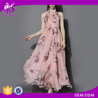 2015 Guangzhou Shandao Sleeveless Printed Women Designer Fashionable Long Chiffon Beautiful Dress